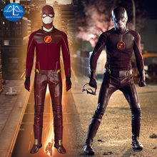 Hot 2015 Superhero The Flash  cosplay costume halloween claret leather Free Shipping Factory price