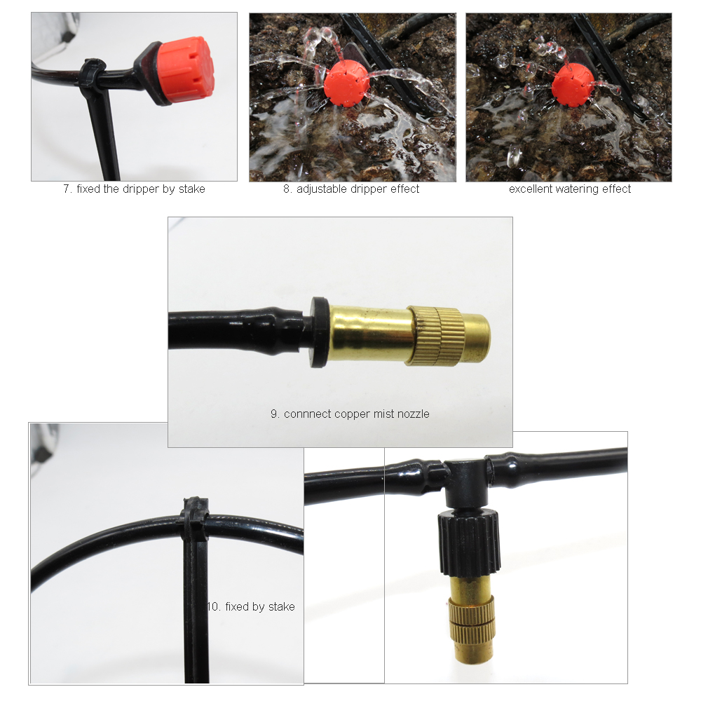 MUCIAKIE 5M-50M Automatic Garden Watering System Kits Self Garden Irrigation Watering Kits Micro Drip Mist Spray Cooling System 4