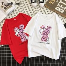 Leopard rabbit Print Ladies 2019 Spring Summer Cotton Loose T Shirts Femme Cool Short sleeve Tee Tops Women Round neck Tshirts
