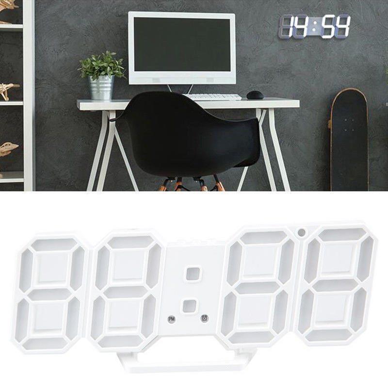 Creative Wall Clock Modern Design 24/12 Hour Display Large Digital 3D White Led Skeleton Timer Reloj De Pared Kitchen Clock 60C