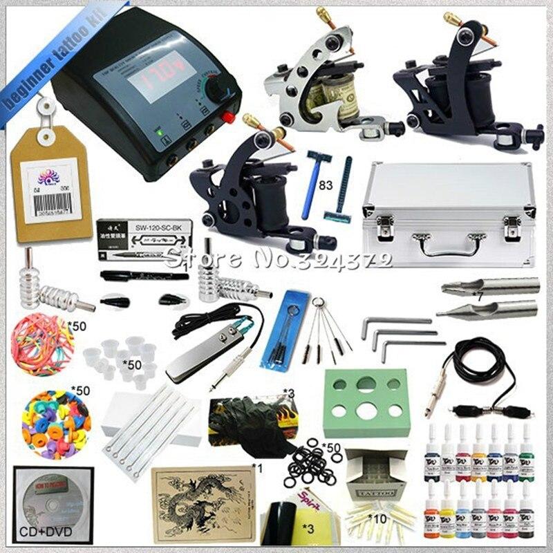 ФОТО Professional 1 Set Tattoo machine kit body art cosmetic tools kit ,3 guns tattoo machine kit &teaching CD &inks