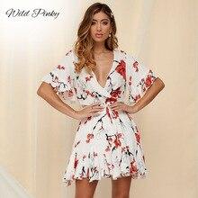 WildPinky new Boho floral print dress women Elegant short sleeve chiffon mini sundress Summer beach v neck female vestidos