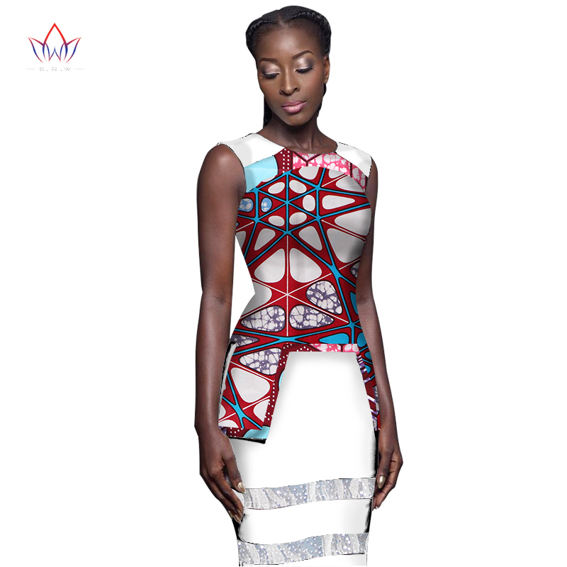 2017 Summer Sexy Dress Sleeveless O-Neck African Print Dashiki for Women Custom Made Bodycon Dress Party Dresses 6XL BRW WY1671