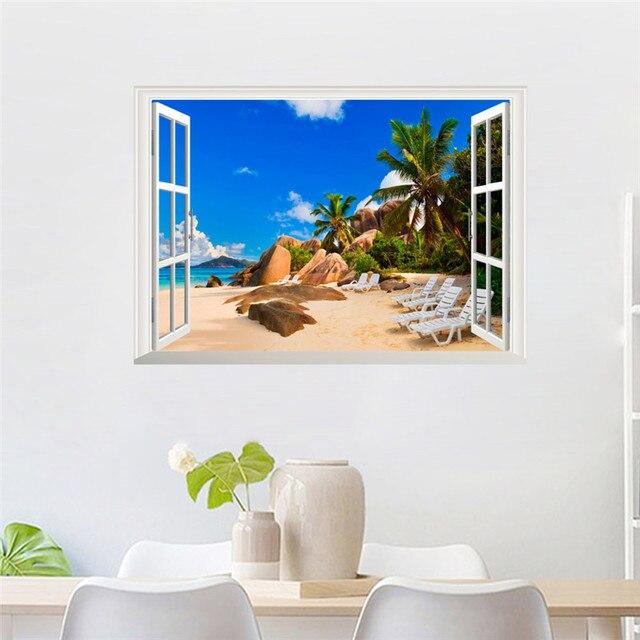 Sea Beach Island 3D Window Wall Stickers 4
