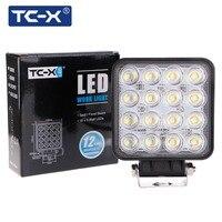 TC-X LED İş Işık 16x3 W Kare Offroad Led 12/24 V ekstra Hafif Taşınabilir Sel Işık Motor Traktör Kamyon Araba Styling Toptan