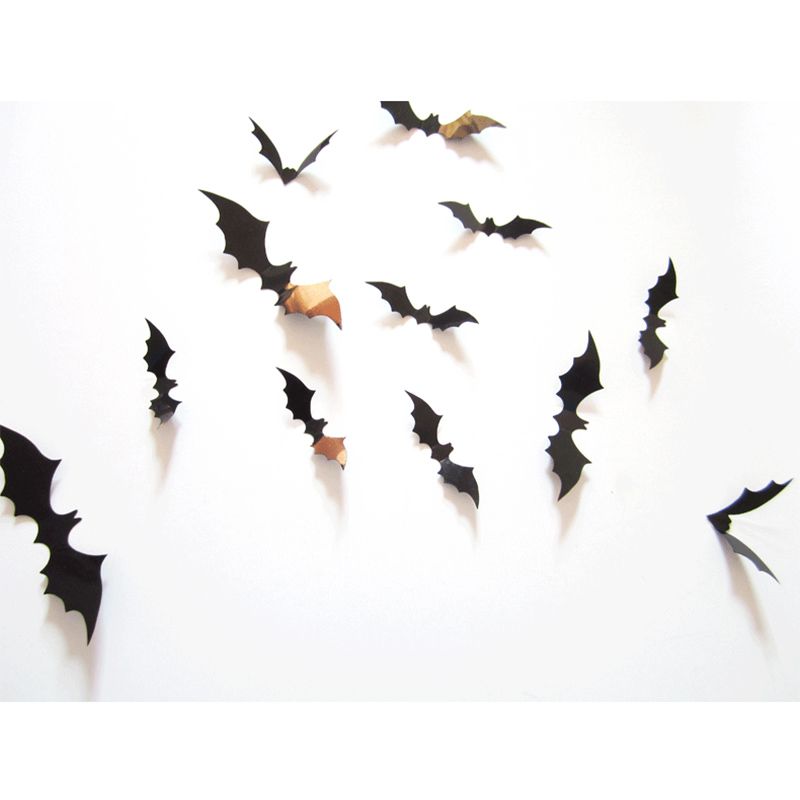 12pcs 3D DIY Wall Stickers Red Black Bats Wall Stickers Carnival Party Entertainment Stickers Personalized Home Decoration