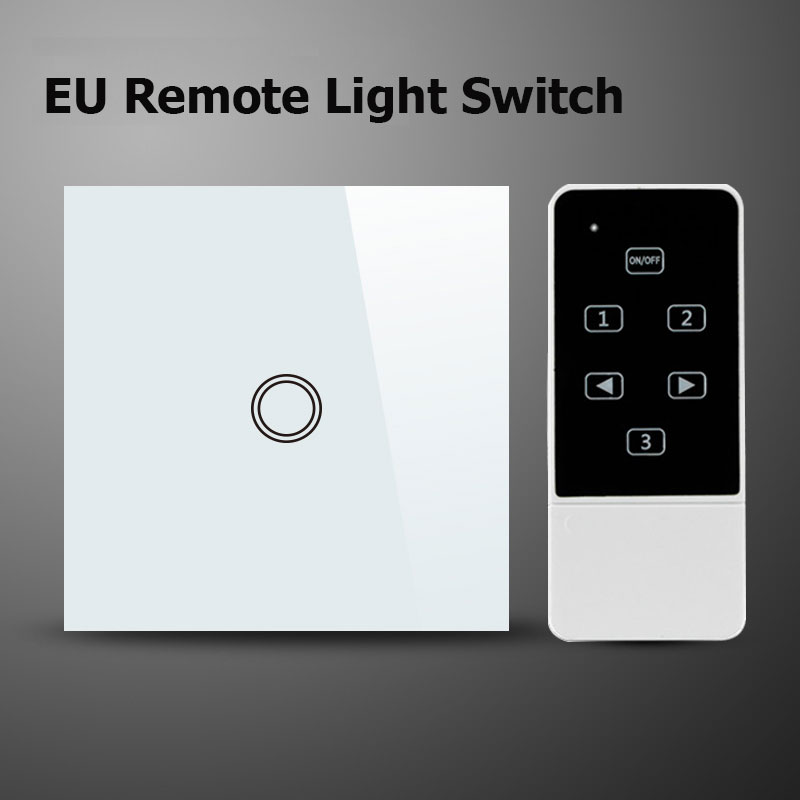 Makegood eu standard 1 gang 1 way remote switch crystal glass panel makegood eu standard 1 gang 1 way remote switch crystal glass panel 220240v wall light remote touch the switch for smart home in switches from lights aloadofball Gallery