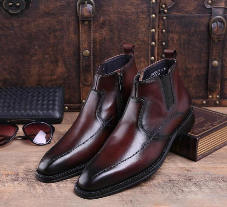 Ankle boots dress shoes men elastic band genuine leather side zipper sewing high top casual shoes formal business roman boots недорого