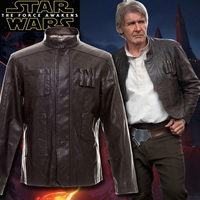 Star Wars: The Force Awakens Han Solo Cosplay Costumes Men's PU leather jacket Casual Men wear leather trim coats with lapels