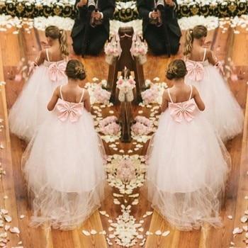 Flower Girl Dresses with Bow Train Spaghetti straps Communion Party Ball Pageant Dress for Little Girls Kids/Children Wedding