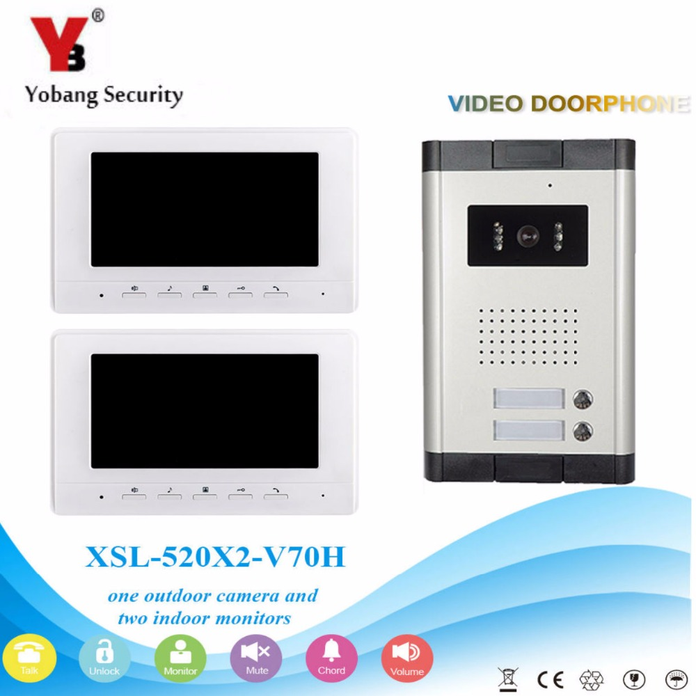 YobangSecurity Video Door Intercom 7 Inch Monitor Wired Video Doorbell Door Phone Intercom 1 Camera 2 Monitor System Kit 3v3 7 inch monitor water proof ip66 wired intercom video door phone