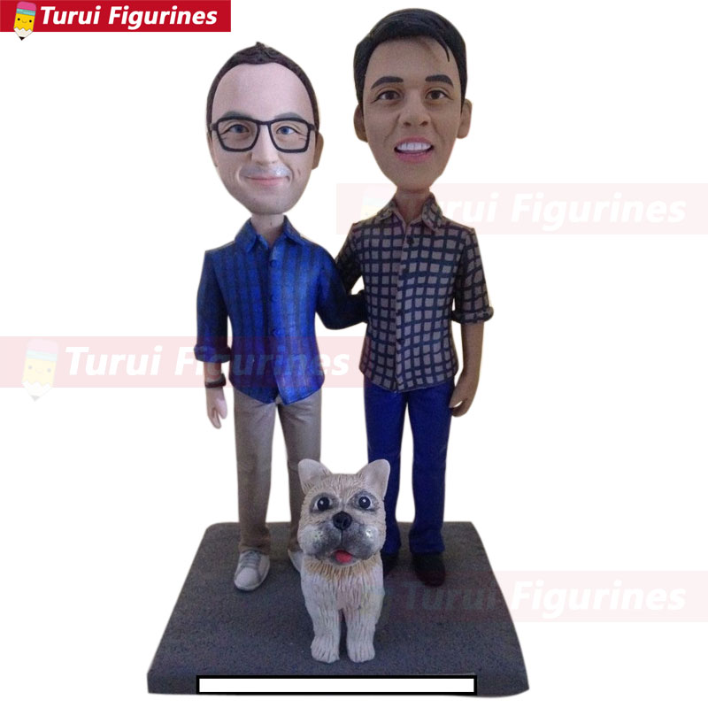 Gay Male With Pets Custom Wedding Topper Personalized Gay Wedding Cake Topper Figurine Based on Customers' Photo Gay Male Weddin