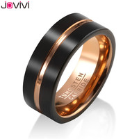Jovivi New Style Mens 8mm Black Matte Finish Tungsten Carbide Wedding Band Rose Gold Beveled Anniversary