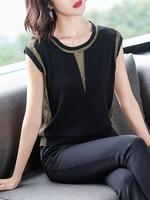 Short sleeved T shirt Women's Summer 2019 New Thin Flash Silk Ice Knitted Shirts Bright Silk Loose Tops