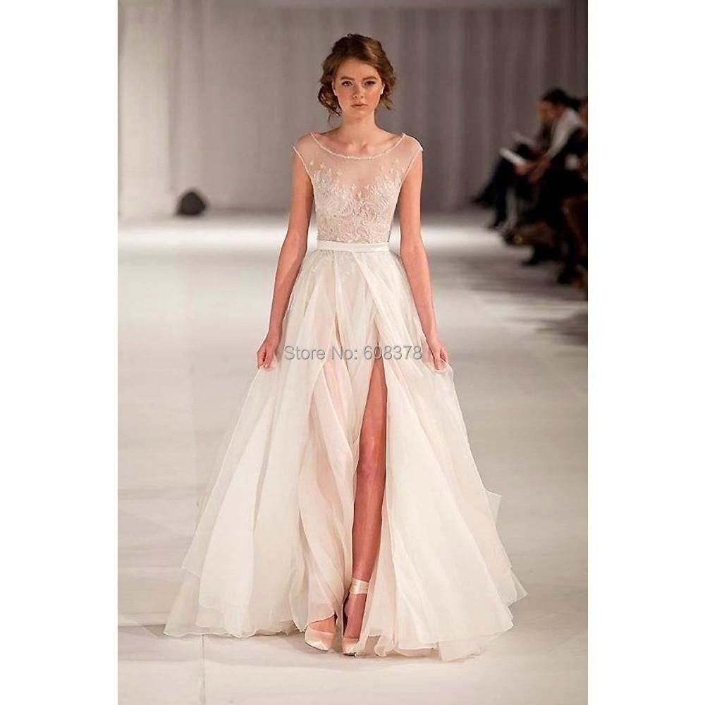 2015 new beach sheer see through sexy wedding dresses for See through wedding dresses