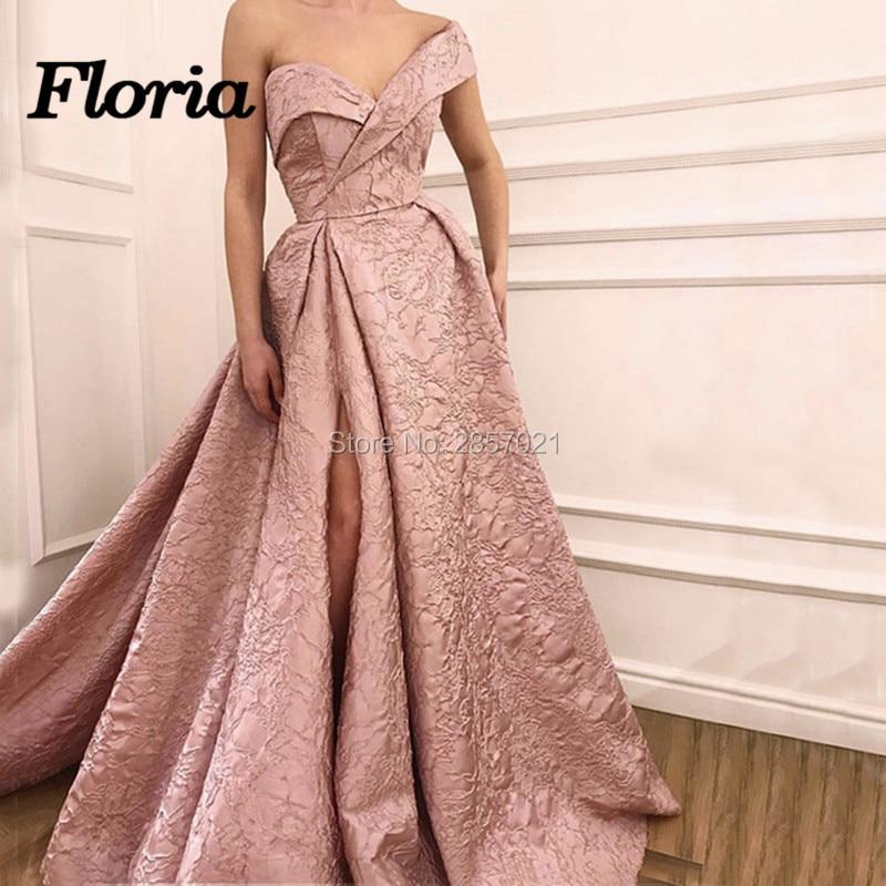 Robes de soirée africaine rose Split arabe dubaï robe de bal formelle musulmane pour les mariages turc col en V longues robes de paillettes caftan