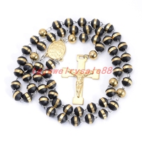Newest Fashion Black Silicone Beads Rosary Stainless Steel Jesus Cross Pendant Necklace For Men S Gold