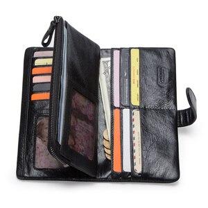 Image 2 - CONTACTS محفظة طويلة جلد أصلي للرجال مع حقيبة الهاتف سستة عملة جيب محفظة الذكور مخلب محافظ للرجال Portfel صغيرة