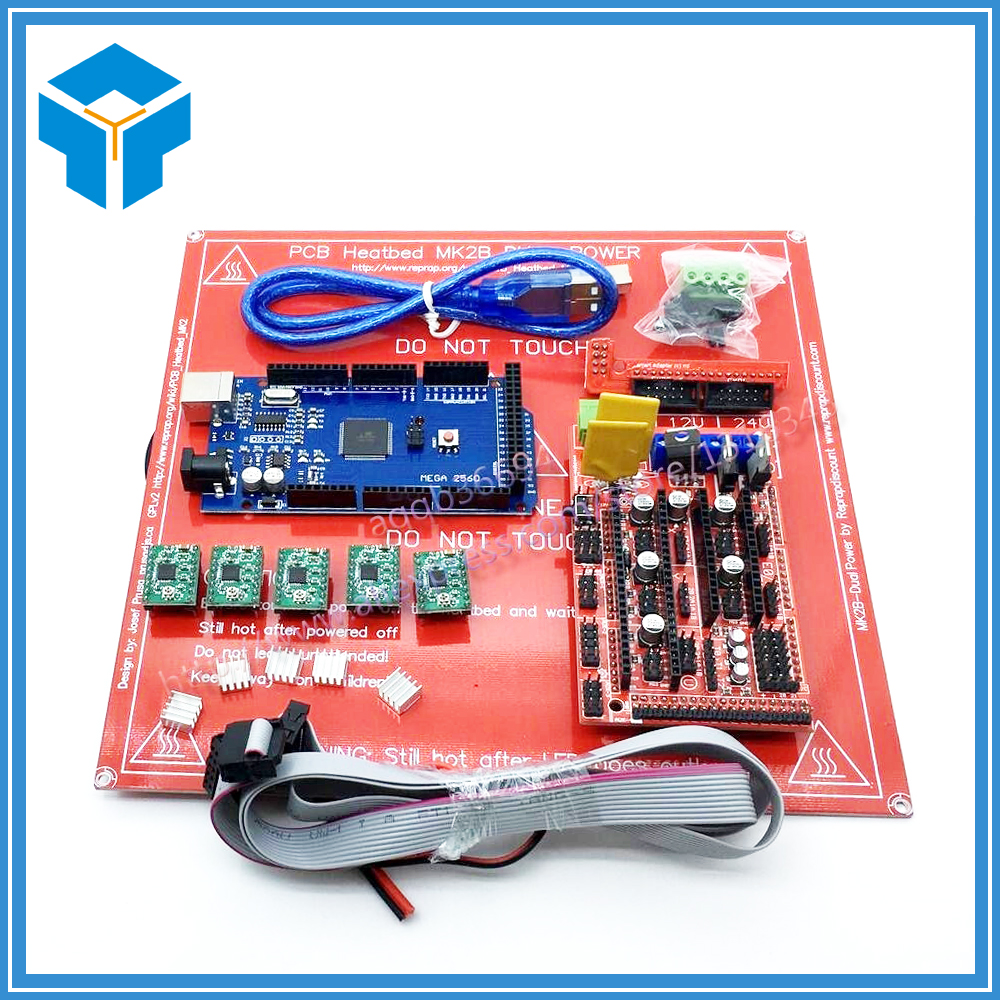1pcs Mega 2560 R3+ 1pcs RAMPS 1.4 Controller+ 5pcs A4988 Stepper Driver Module+1pcs PCB Heatbed MK2B 3D Printer kit, цена и фото