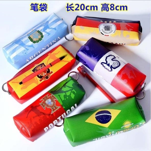 Soccer Football Team Argentina Portugal England France Spain Pencil Pen Case Quality PU Leather Stationary Bag CR7 Messi