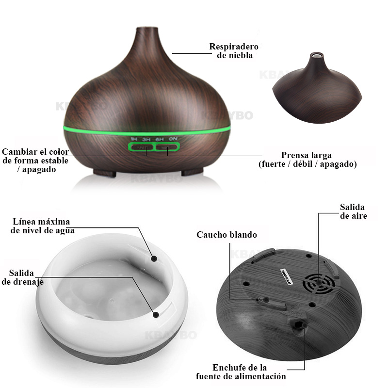 Essential Oil Diffuser Ultrasonic Aromatherapy Humidifier Air Purifier for Home Mist Maker Aroma Diffuser Fogger LED Light 300ML