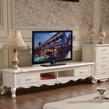 Continental marble living room coffee table TV cabinet combination storage drawers paint wood tea teasideend