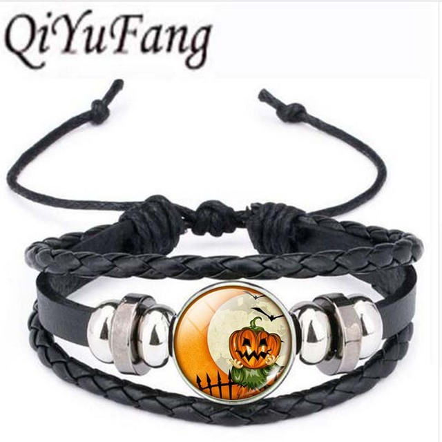 qiyufang 5pcs vintage halloween jewelry pumpkin glass cabochon statement bracelet bangle for kids gift silver color