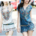 2015 Beige/Blue/Pink/White/Yellow SMLXL New summer autumn embroidery V-neck short-sleeve Slim Chiffon plus size dress Free ship