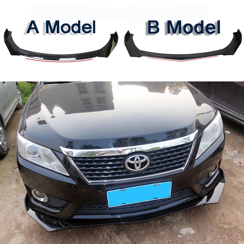 New Design Shine Black Universal 3Pieces Car Front Lip Chin Bumper Splitter Fins Body For BMW Benz Audi Toyota KIA Ford Honda