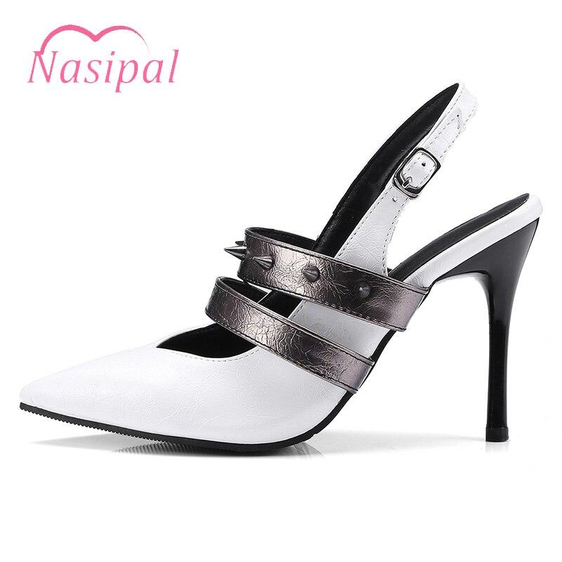 Noir Blanc Feminino Mode Sandalias Studeds Femmes Pointu C503 Noir blanc Nasipal Sexy Bout Footwears D'été Escarpins Mujer Rivets De ZnqdxFqP6