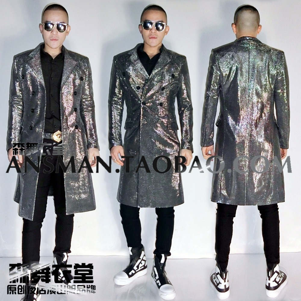 Dj Gd Flash Chao Breasted Long Veste Mâle Avec Super De A Discothèque Argent Deng Costume Chanteur Double 2017 fRCqwR