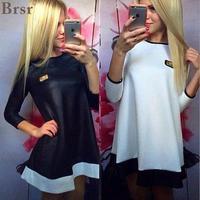 2018 New Fashion Vestidos Kobiety Casual Loose Spade Drukuj Skóra Zip Czarny i Biały O-Neck Plus Rozmiar Mini Party Tops