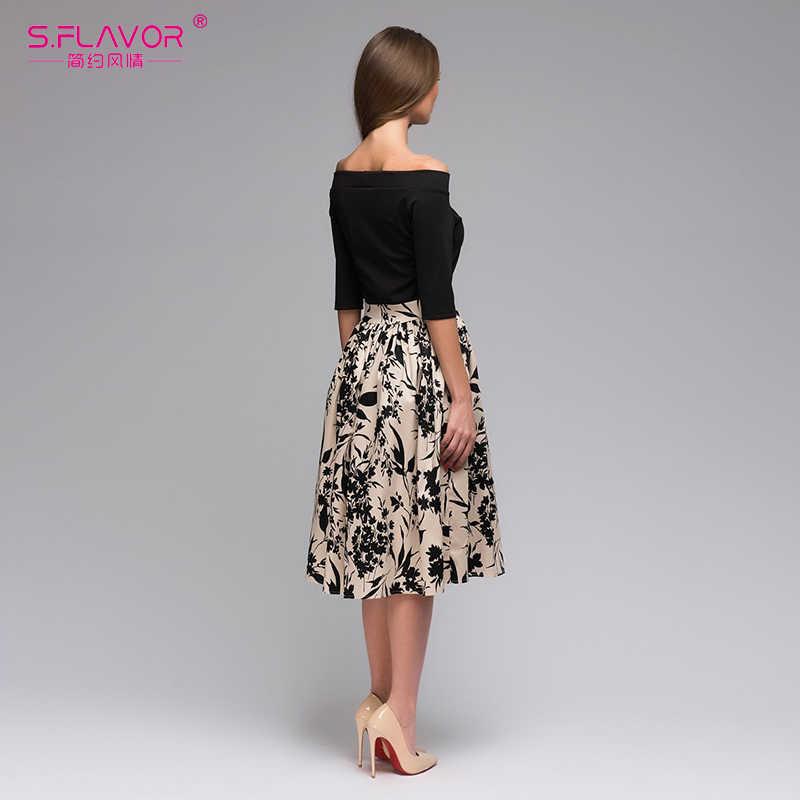 Женское лоскутное повседневное платье S.FLAVOR, праздничное платье с открытыми плечами, цветочным принтом и вырезом-лодочкой для весны и лета