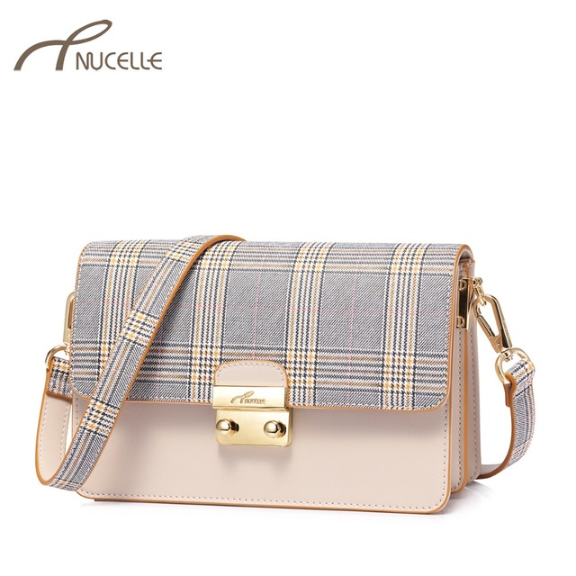 ba53720fdbf4 NUCELLE Women s Leather Messenger Bags Ladies Fashion British Plaid Shoulder  Purse Female Flap Lock Elegant Crossbody
