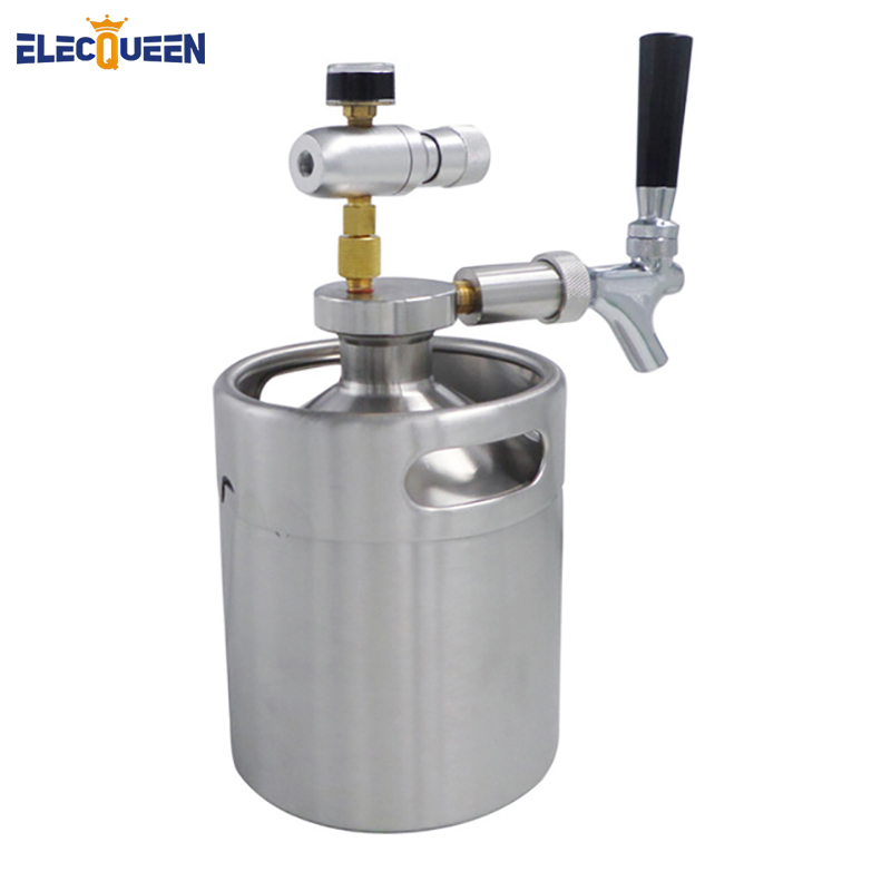 2L Mini Keg Beer Growler with  Beer Growler Spear, Tap Faucet with CO2 Injector Premium