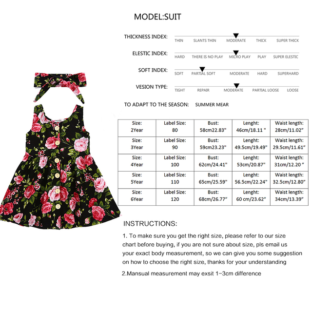 Girl Infant Children Floral Dress + hair band 2-6Y Toddler Baby Summer Floral Dress Sleeveless Party Princess Dress