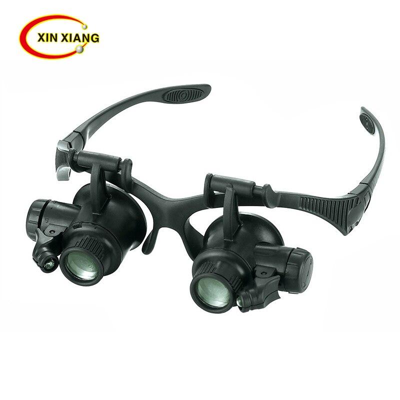 9892G Magnifying Glass Lupa 10X 15X 20X 25X Eye Jewelry Watch Repair Magnifier Glasses With 2LED Lights Loupe Microscope окуляр для зрительных труб nikon prostaff 5 20x 25x