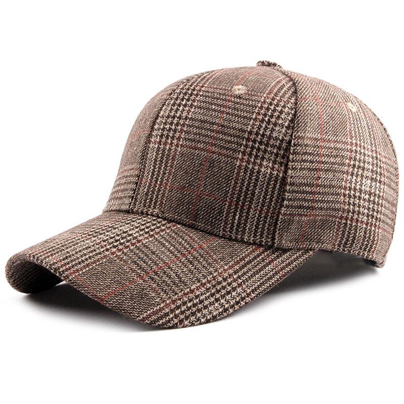 Women's Vintage Tweed Outfit   Baseball     Cap   Plaid Pattern Curved Brim Adjustable Buckle Khaki Grey