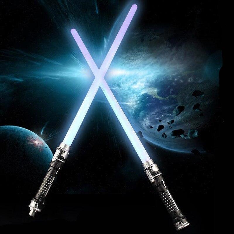 Hot 2 combination of 1 laser sword star wars toy children weapon props hair blue light belt sound effect sword boy birthday gift