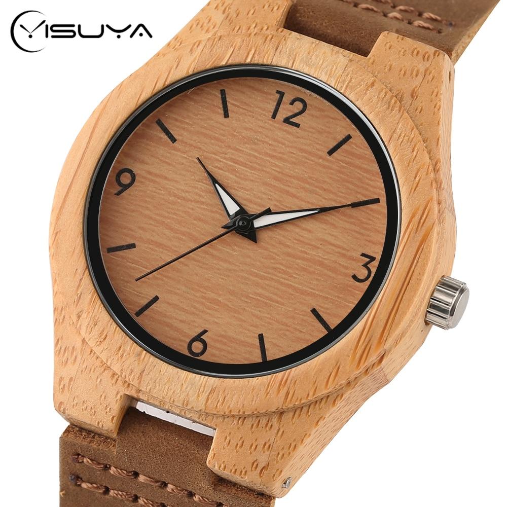 YISUYA Simple Ladies Dress Bambusowy drewniany zegarek na rękę - Zegarki damskie - Zdjęcie 3
