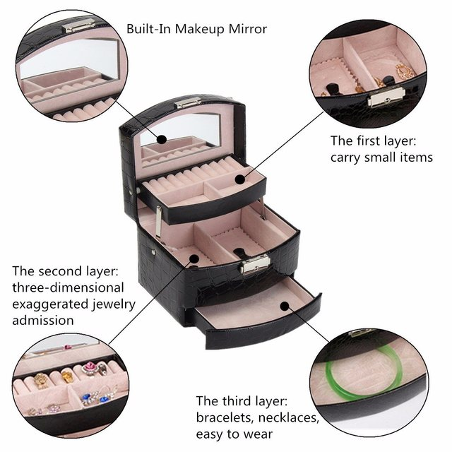 Leather Jewelry Box Storage Organizer Case Black Crocodile Print