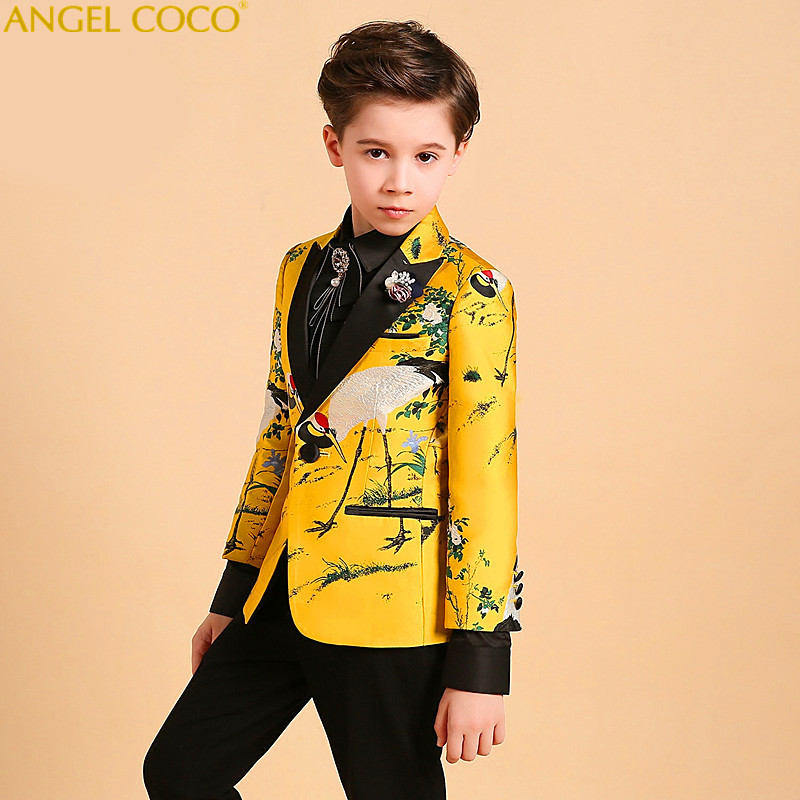 New Catwalk Children Suit Blazer Boys Suits For Weddings British Formal Suit Piano Costume Enfant Garcon Mariage Prom Suits 2018 elk print pattern boys clothing blazer catwalk children s piano costumes hosted clothes thick winter boys suits for weddings set