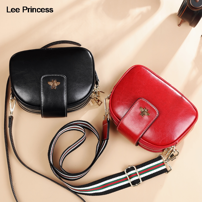 Lee Princess Girls Small Crossbody Bags For Women Free 2 Strap 3 Zipper Split Leather Ladies