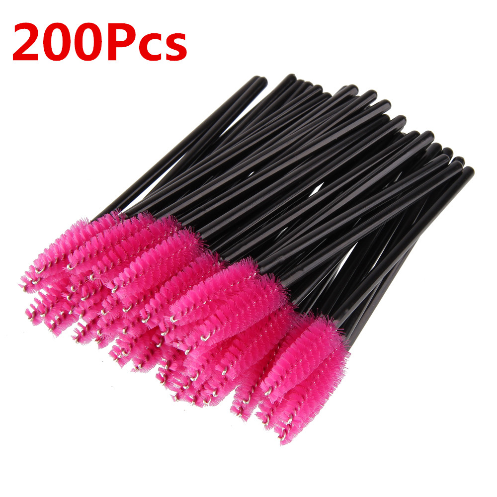 BEAUTY7 Free Shipping 200Pcs Pink Disposable Eyelashes Brush Mascara Applicator Wand Brushes Eyelash Extension Brush Makeup Tool beauty7 100pcs pack 2 0mm disposable micro brushes individual lash removing tools swab eyelash extension makeup tools pink