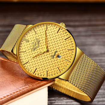 Luxury Ultra Thin Quartz Steel Mesh Strap Waterproof Gold Watch  1