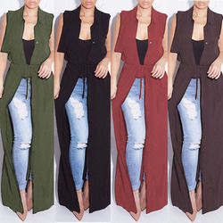 2017 nouvelle d'été sans manches tranchée manteau 4 couleur mousseline de soie chiffon pour femmes femme pardessus outwear causalité robe longue peut être robe sexy