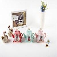 50 Pz/lotto Tea Design Candy Scatole Party Favors Imballaggio Cioccolato Confezione regalo Regali di Nozze per Gli Ospiti Di Compleanno Rifornimenti Del Partito