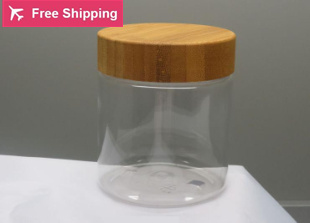 5pcs/lot 250ml honey pot seasoning food packing bottle with natural bamboo cover clear seasoning bottle