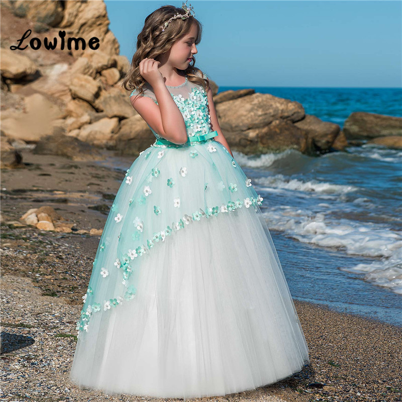 2018   Flower     Girl     Dresses   For Weddings First Communion   Dresses     Girls   Pageant Gowns Pearls Two Layer Party Gown Vestidos Daminha