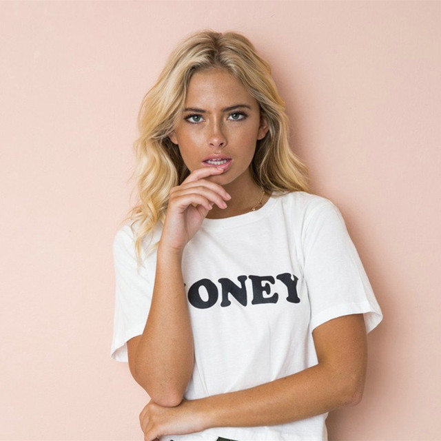 Red Letters Print Cotton Casual Funny T Shirt for Lady